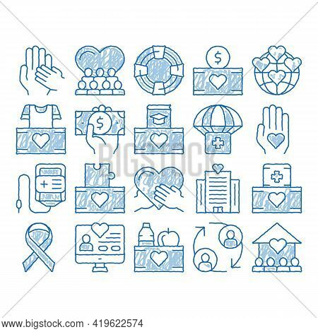 Volunteers Support Sketch Icon Vector. Hand Drawn Blue Doodle Line Art Volunteers Support, Charitabl