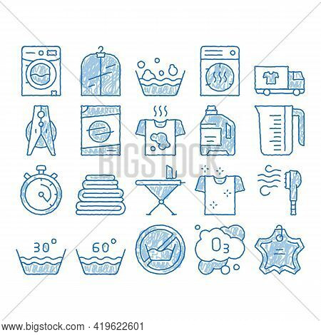 Laundry Service Sketch Icon Vector. Hand Drawn Blue Doodle Line Art Laundry Service, Washing Clothes