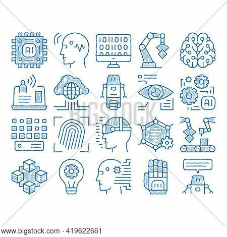 Artificial Intelligence Sketch Icon Vector. Hand Drawn Blue Doodle Line Art Artificial Intelligence