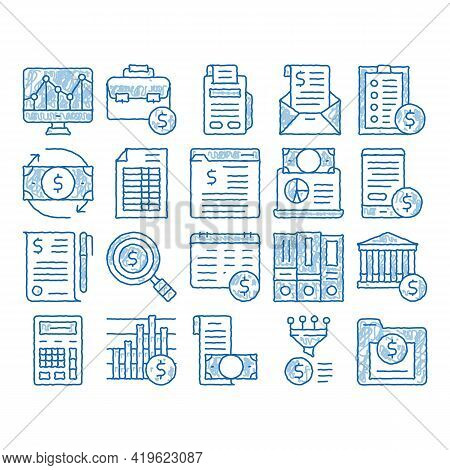 Financial Accounting Sketch Icon Vector. Hand Drawn Blue Doodle Line Art Money Dollar Sings On Smart