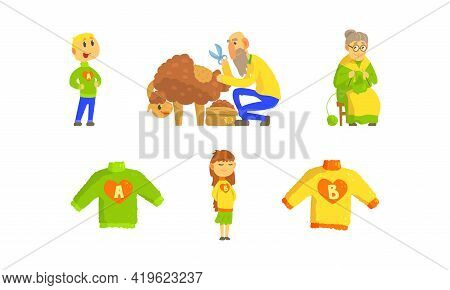 Knitwear Handmade Manufacturing Process With Sheep Shearing And Granny Knitting Sweater Vector Set