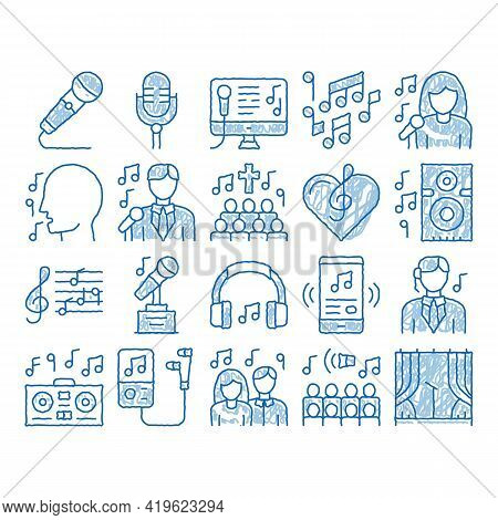 Singing Song Elements Sketch Icon Vector. Hand Drawn Blue Doodle Line Art Singer And Musical Notes,