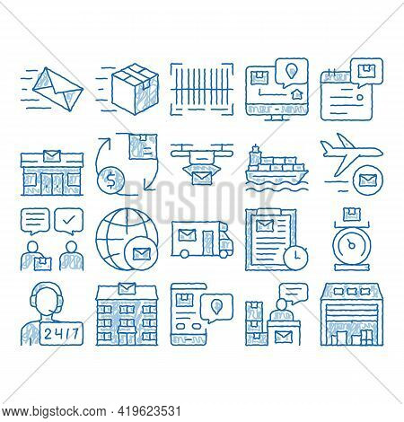 Postal Transportation Company Sketch Icon Vector. Hand Drawn Blue Doodle Line Art Support And Postal