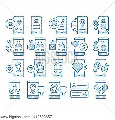 Dating App Elements Sketch Icon Vector. Hand Drawn Blue Doodle Line Art Smartphone Mobile Dating Lov