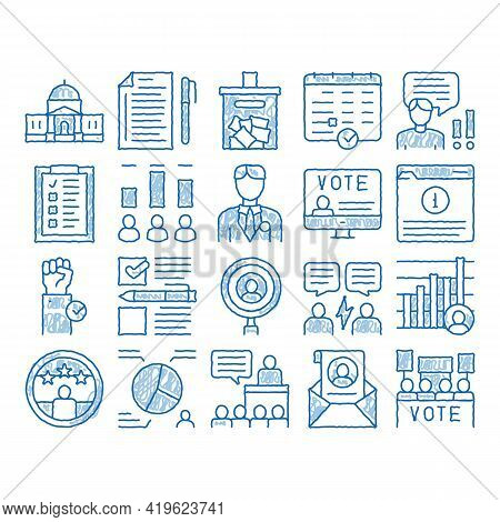 Voting And Election Sketch Icon Vector. Hand Drawn Blue Doodle Line Art Congress Building And Monito