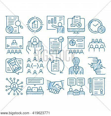 Contract Elements Sketch Icon Vector. Hand Drawn Blue Doodle Line Art Human Silhouette And Hands, Ha