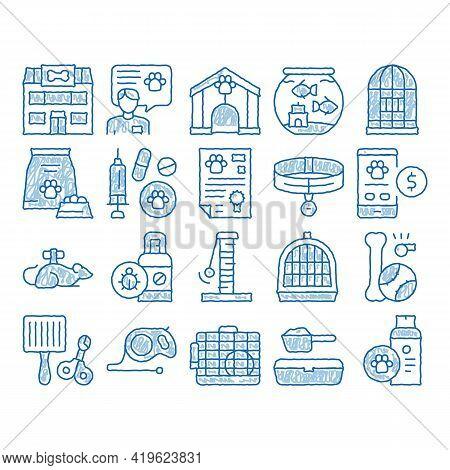 Pet Shop Elements Sketch Icon Vector. Hand Drawn Blue Doodle Line Art Shop Building And Aquarium, Bo