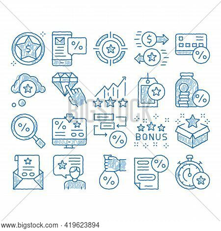 Bonus Hunting Elements Sketch Icon Vector. Hand Drawn Blue Doodle Line Art Magnifier And Bag With Pe