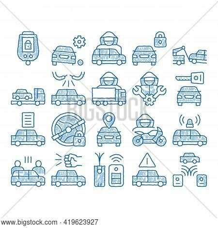 Car Theft Elements Sketch Icon Vector. Hand Drawn Blue Doodle Line Art Car Theft On Truck, Thief Sil