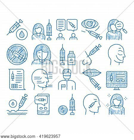 Injections Elements Sketch Icon Vector. Hand Drawn Blue Doodle Line Art Anti-ageing Treatments Proce