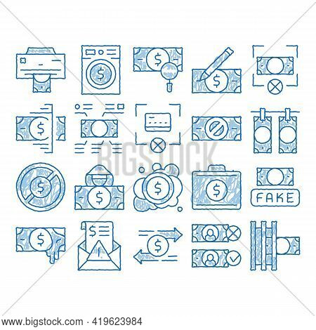 Fake Money Elements Sketch Icon Vector. Hand Drawn Blue Doodle Line Art Bandit Silhouette And Pencil