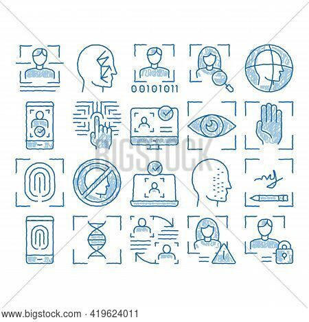 Recognition Elements Sketch Icon Vector. Hand Drawn Blue Doodle Line Art Eye Scanning, Biometric Rec