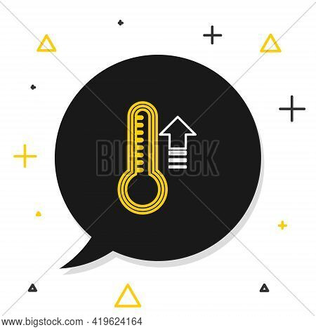 Line Meteorology Thermometer Measuring Heat And Cold Icon Isolated On White Background. Thermometer
