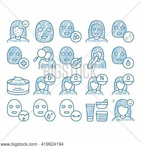 Facial Mask Healthcare Sketch Icon Vector. Hand Drawn Blue Doodle Line Art Container Of Vitamin Faci