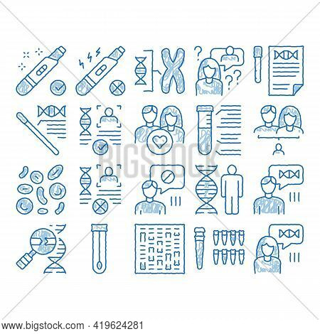 Paternity Test Dna Sketch Icon Vector. Hand Drawn Blue Doodle Line Art Man And Woman Silhouette, Che