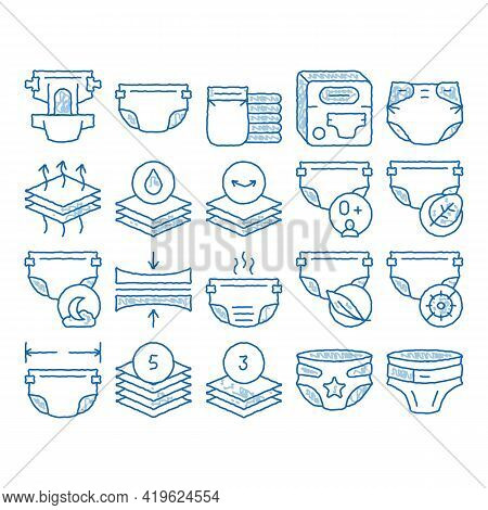 Diaper For Newborn Sketch Icon Vector. Hand Drawn Blue Doodle Line Art Diaper For Kids With Drop Of