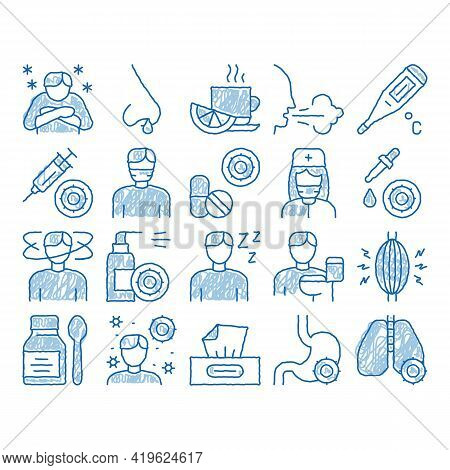 Flu Symptoms Medical Sketch Icon Vector. Hand Drawn Blue Doodle Line Art Chills And Fever, Cough And