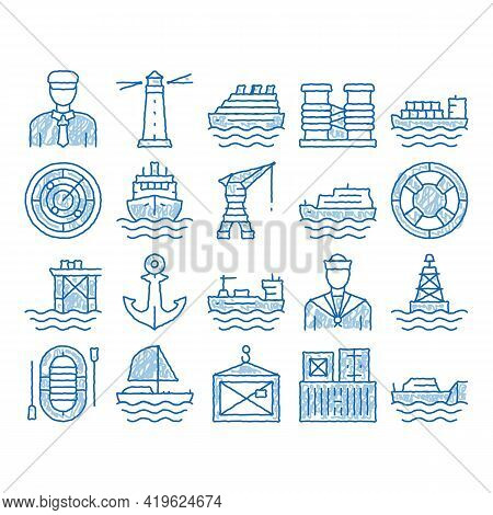Marine Port Transport Sketch Icon Vector. Hand Drawn Blue Doodle Line Art Port Dock And Harbor, Ligh
