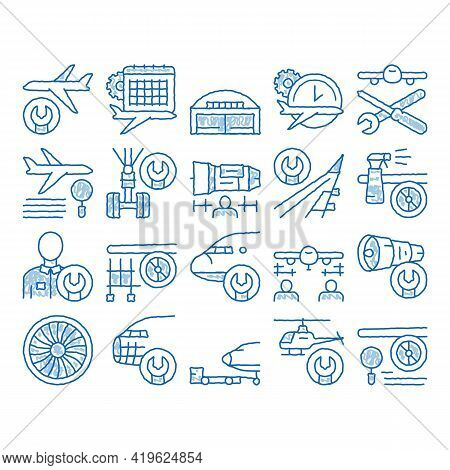 Aircraft Repair Tool Sketch Icon Vector. Hand Drawn Blue Doodle Line Art Aircraft Engine And Chassis