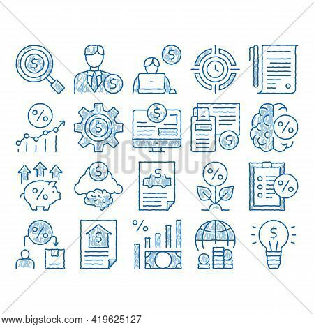 Investor Financial Sketch Icon Vector. Hand Drawn Blue Doodle Line Art Investor With Money Dollar An