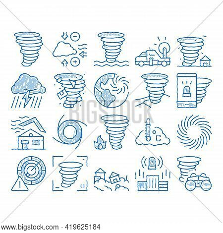 Tornado And Hurricane Sketch Icon Vector. Hand Drawn Blue Doodle Line Art Tornado Blowing House Roof