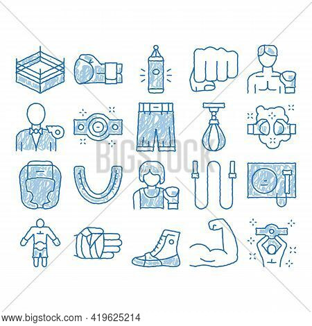 Boxing Sport Tool Sketch Icon Vector. Hand Drawn Blue Doodle Line Art Boxing Glove And Shirts, Prote