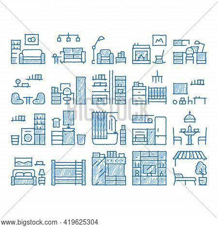 Home Rooms Furniture Sketch Icon Vector. Hand Drawn Blue Doodle Line Art Sofa And Table, Lamp And Ch
