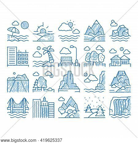 Landscape Travel Place Sketch Icon Vector. Hand Drawn Blue Doodle Line Art City And Seaside, Island