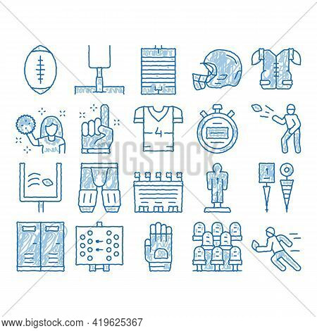 Rugby Sport Game Tool Sketch Icon Vector. Hand Drawn Blue Doodle Line Art Rugby Ball And Gates, Athl