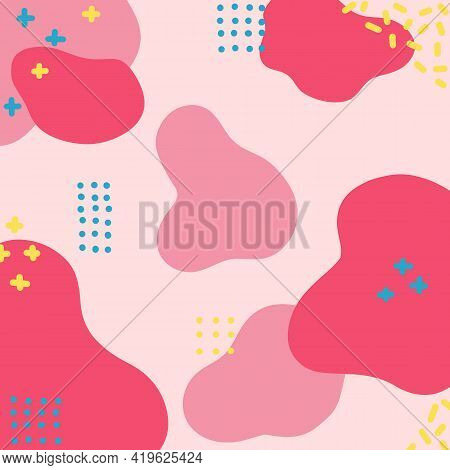 Pink Red Template With Dynamic Abstract Forms, Composition For Social Media, Mobile Apps Or Banners,