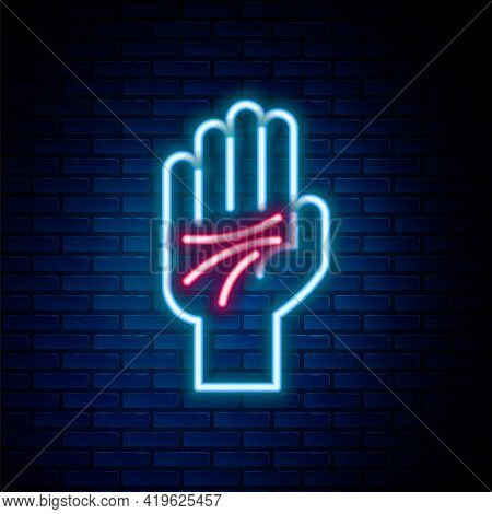 Glowing Neon Line Palmistry Of The Hand Icon Isolated On Brick Wall Background. Colorful Outline Con