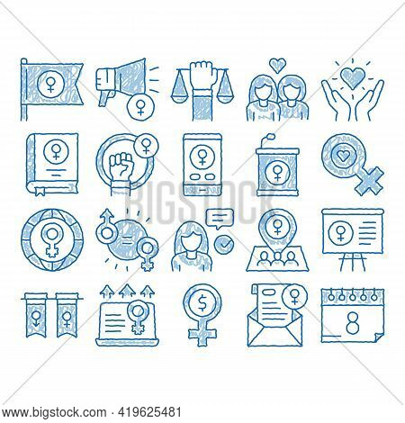 Feminism Woman Power Sketch Icon Vector. Hand Drawn Blue Doodle Line Art Feminism Symbol On Flag And