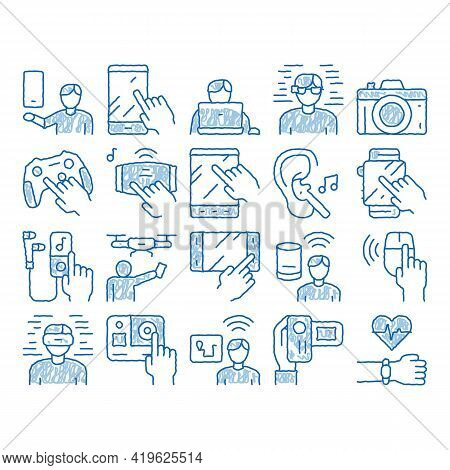 Gadget And Device Sketch Icon Vector. Hand Drawn Blue Doodle Line Art Smartphone And Tablet, Photo A