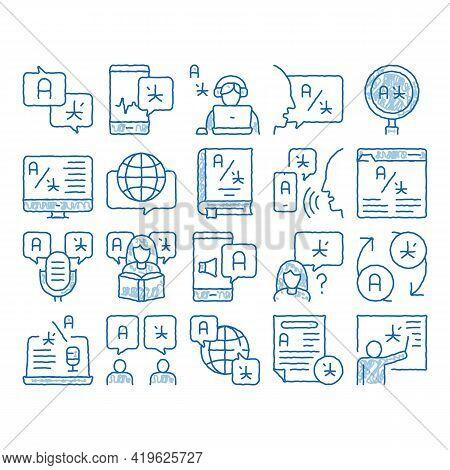 Interpreter Translator Sketch Icon Vector. Hand Drawn Blue Doodle Line Art Interpreter In Smartphone