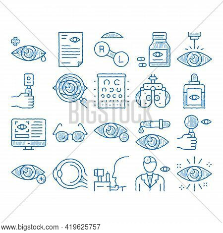 Optometry Medical Aid Sketch Icon Vector. Hand Drawn Blue Doodle Line Art Optometry Doctor Equipment