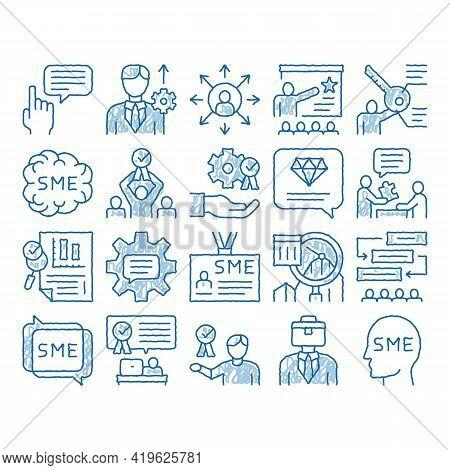 Sme Business Company Sketch Icon Vector. Hand Drawn Blue Doodle Line Art Sme Small And Medium Enterp
