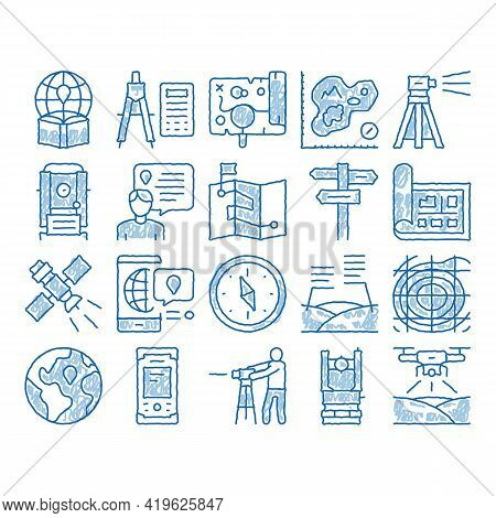 Topography Research Sketch Icon Vector. Hand Drawn Blue Doodle Line Art Topography Equipment And Dev