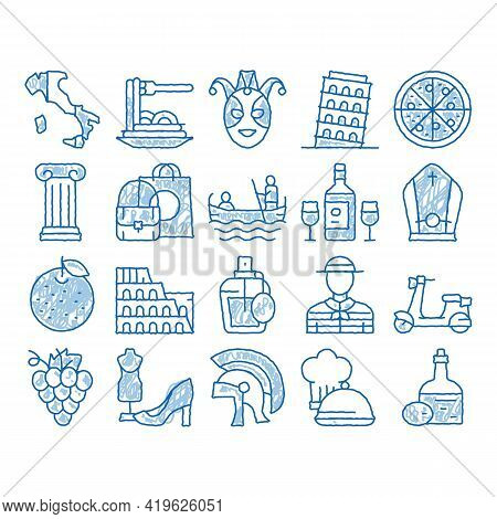Italian Traditional Sketch Icon Vector. Hand Drawn Blue Doodle Line Art Italian Pizza And Wine, Meal