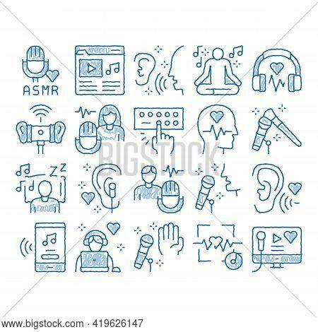 Asmr Sound Phenomenon Sketch Icon Vector. Hand Drawn Blue Doodle Line Art Asmr Autonomous Sensory Me