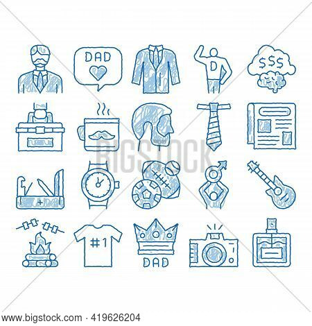 Dad Father Parent Sketch Icon Vector. Hand Drawn Blue Doodle Line Art Dad With Beard And Office Work