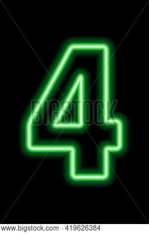 Neon Green Number 4 On Black Background. Learning Numbers, Serial Number, Price, Place. Vector Illus