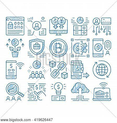 Fintech Innovation Sketch Icon Vector. Hand Drawn Blue Doodle Line Art Bitcoin Financial Technology,