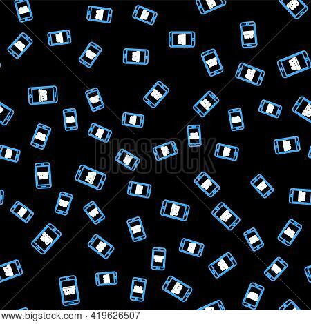 Line Mobile Phone With Text Faq Information Icon Isolated Seamless Pattern On Black Background. Freq