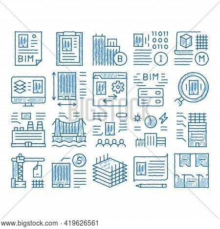 Bim Building Information Modeling Sketch Icon Vector. Hand Drawn Blue Doodle Line Art Building Docum