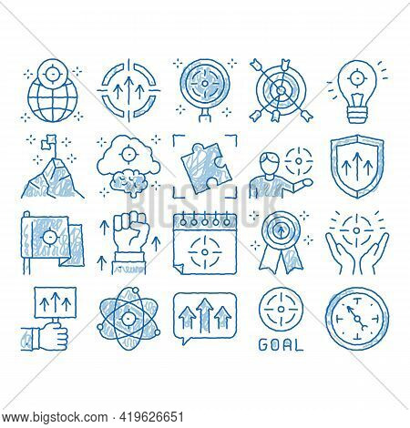 Goal Target Purpose Sketch Icon Vector. Hand Drawn Blue Doodle Line Art Goal Aim On Planet And Light