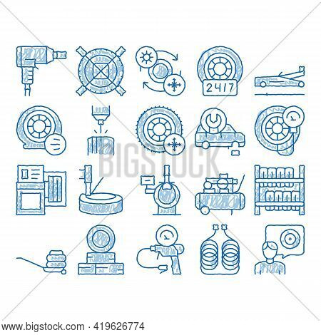 Tire Fitting Service Sketch Icon Vector. Hand Drawn Blue Doodle Line Art Tire Fitting Station Equipm