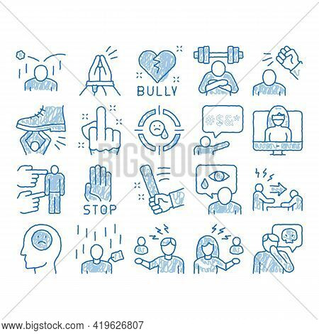 Bullying Aggression Sketch Icon Vector. Hand Drawn Blue Doodle Line Art Internet Bullying And Name-c