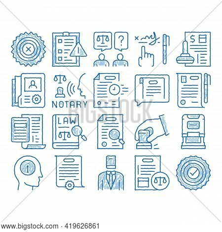 Notary Service Agency Sketch Icon Vector. Hand Drawn Blue Doodle Line Art Agreement And Law Research