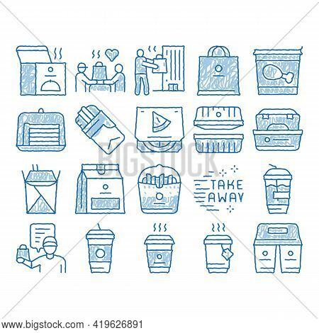 Take Away Food And Drink Delivery Sketch Icon Vector. Hand Drawn Blue Doodle Line Art Cooked Pizza A