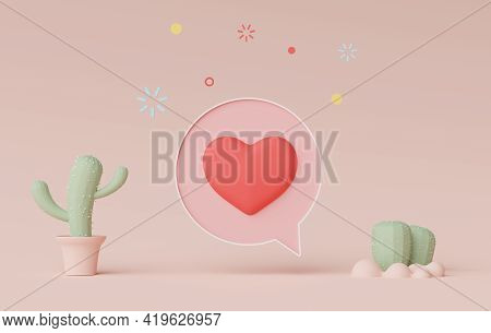 3d Render Of Minimal Talking Bar Banner Or Icon Bubble Comment With Cute Heart In Pastel Earth Tone